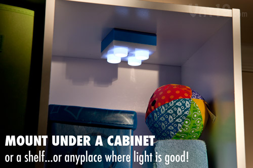 The LEGO® LED Brick Light can be installed upside down.