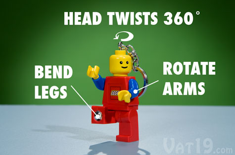 Like any typical LEGO character, the Lego Keychain features movable arms and legs and a twistable head.