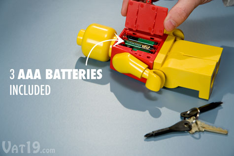 The LEGO® torch flashlight requires 3 AAA batteries which are included.