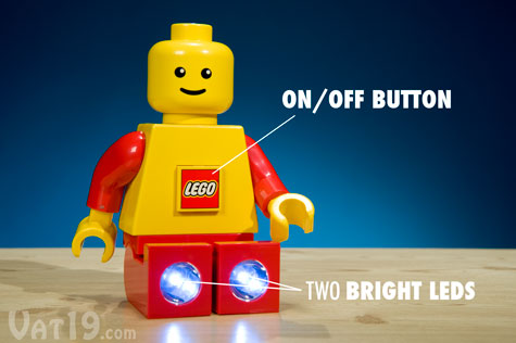 The LEGO Torch Flashlight features an on/off button and two bright LEDs in its feet.