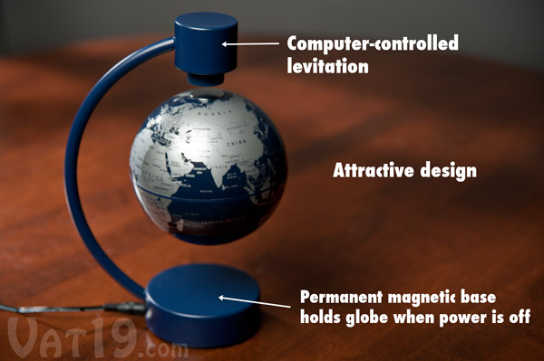 The Stellanova floating desktop globe is an attractive levitating globe.