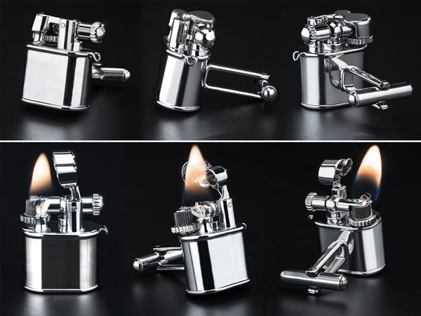 Multiple views of the Chrome Cufflink Lighters.