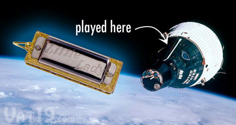 The Little Lady Harmonica was the first musical instrument played in Space.