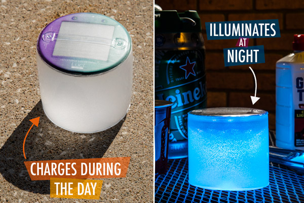Charges during the day, illuminates at night