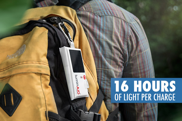 Clip the LuminAID to your backpack for on-the-go recharging.