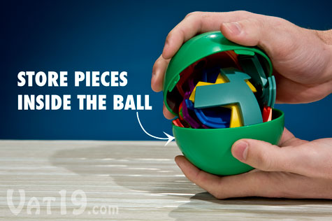 Store the magnetic puzzle pieces inside the Magic 16 Ball when not in use.