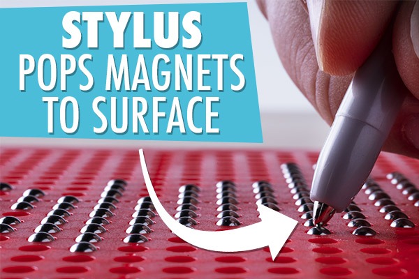 Use the included stylus with magnetic tip to pop beads to surface of board.