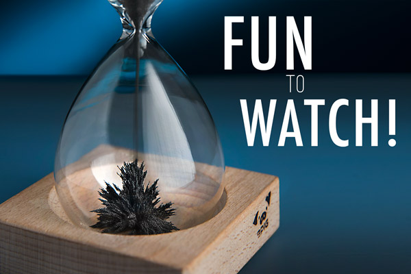 Hourglass Magnetic Sand Wood Base Hourglass Beautiful Mesmerizing Desk Toys