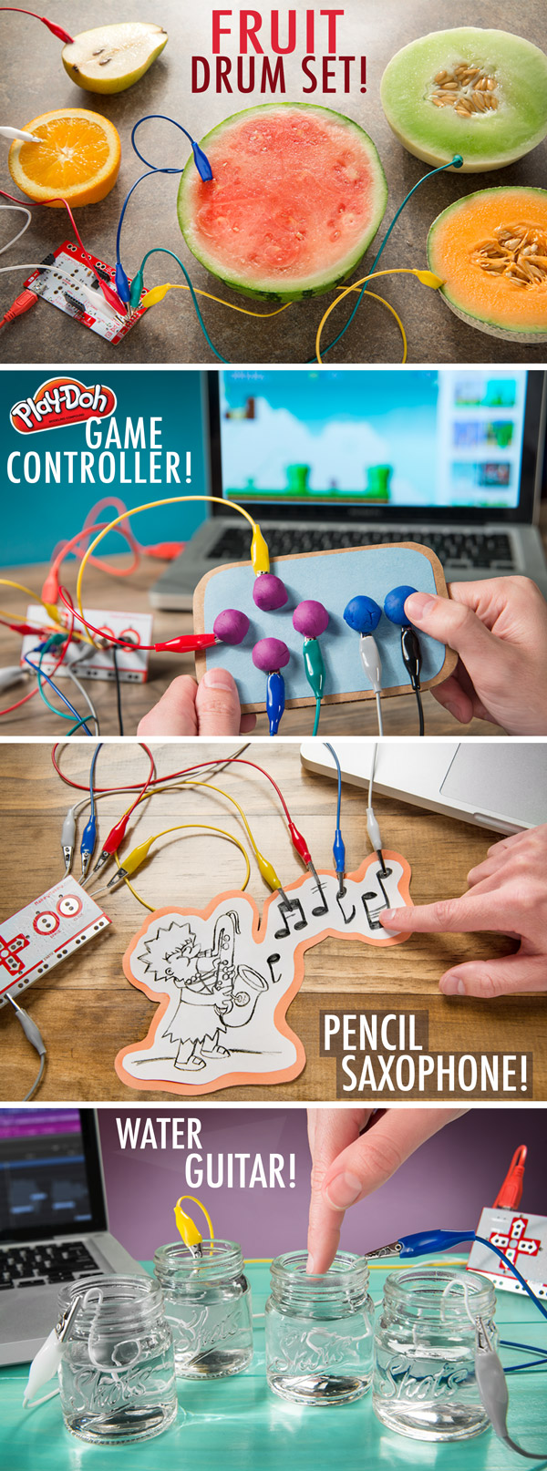 Examples of the Makey Makey in action.