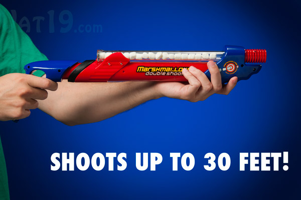 Shoot mini marshmallows up to 30 feet with the Marshmallow Double Shooter.