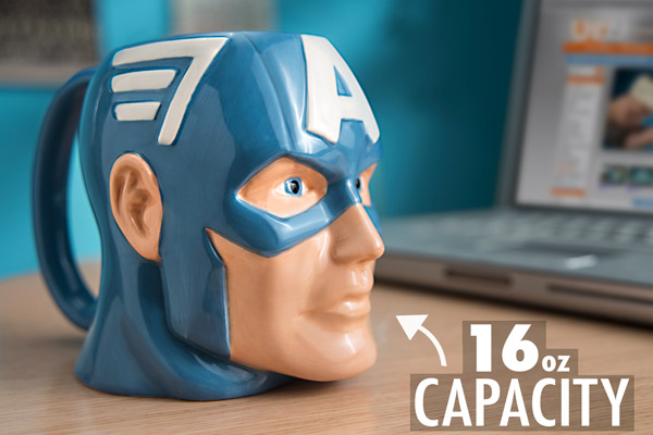Captain America Mug on a coffee table.