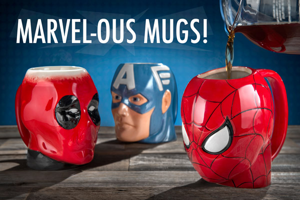 Spider-Man, Deadpool, and Captain America Molded Marvel Mugs on a table.