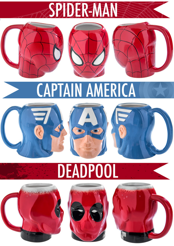Multiple views of the Spider-Man, Captain America, and Deadpool Molded Mugs.