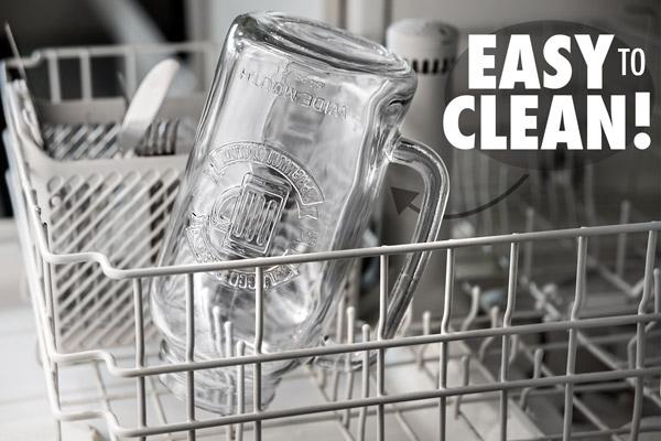 The Mason Jar Beer Stein is dishwasher safe.