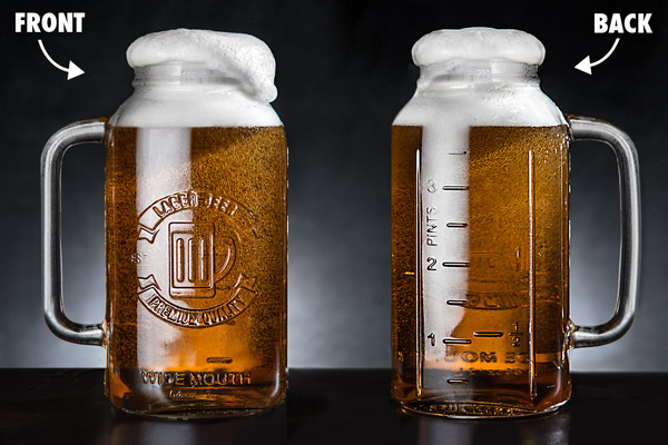 Mason Jar Beer Steins seen from the front and back.