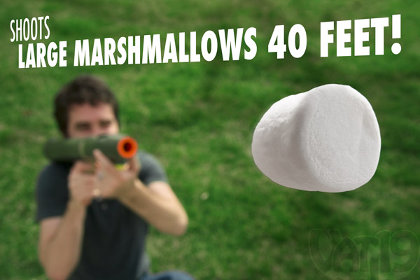 The Mazooka Marshmallow Bazooka shoots up to 40 feet.