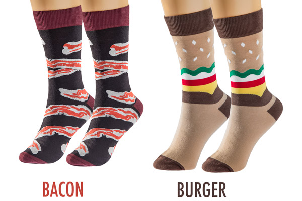 Bacon and burger socks for him or her
