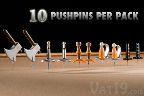 Each pack of Medieval Weapons Pushpins includes 10 classic weapon replicas from ye olde times.