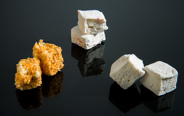 Three flavors of marshmallow snacks.