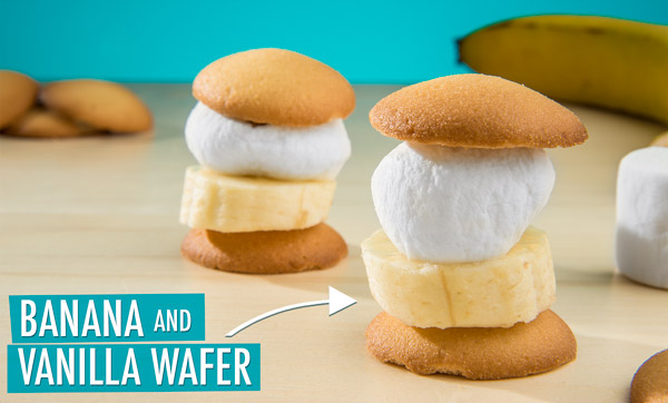 Banana and Vanilla Wafer S'More