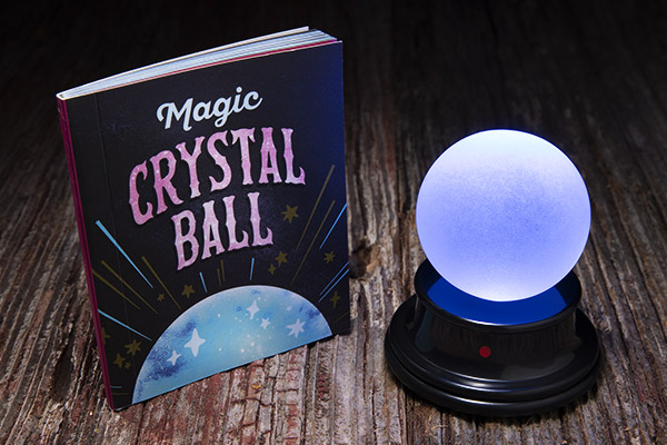 Your kit includes a mini glass crystal ball with a motion-activated light and sound base as well as a 48-page mini book.