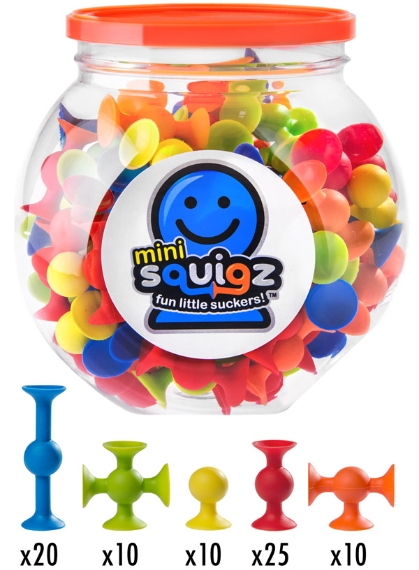 Each Mini Squigz set comes with 75 pieces.