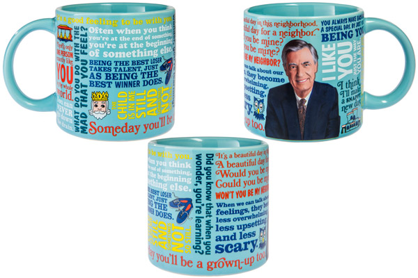 The Mister Rogers Heat-Change Mug is filled out with quotes.