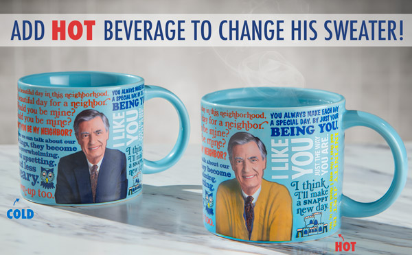 Add a hot beverage to change his suit coat into a sweater.