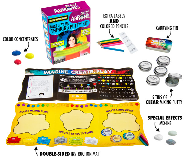 The Mixed By Me Putty Kit includes putty, pencils, tins, color concentrates, effects, labels, and a guide mat.