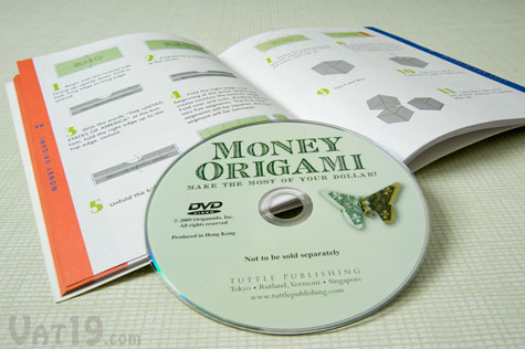 Learn how to fold money origami from both the illustrated booklet and instructional DVD included with the Money Origami Kit.