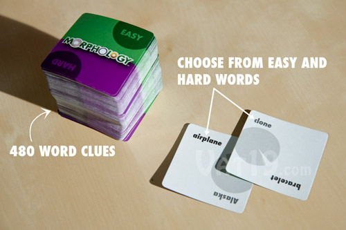 Each Morphology card includes one easy and one hard word. There are 240 total cards.