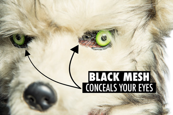 Black mesh conceals your eyes
