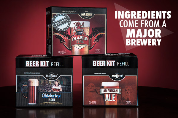 Mr. Beer Kits feature professional-quality ingredients from a major brewery.