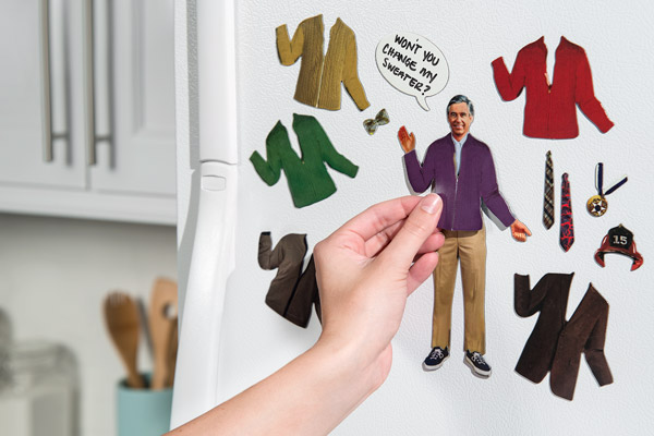 Dress Mr. Rogers in clothing and other accessories