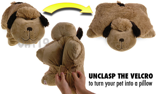 Simply unclasp the velcro to turn the stuffed animal into a pillow.