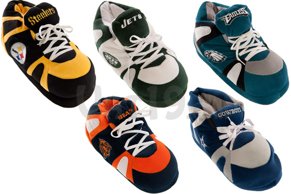 NFL Sneaker Slippers are available in the following teams: Cowboys, Bears, Steelers, Jets, and Eagles.