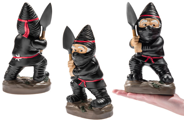 Three views of the Ninja Garden Gnome with a hand for perspective