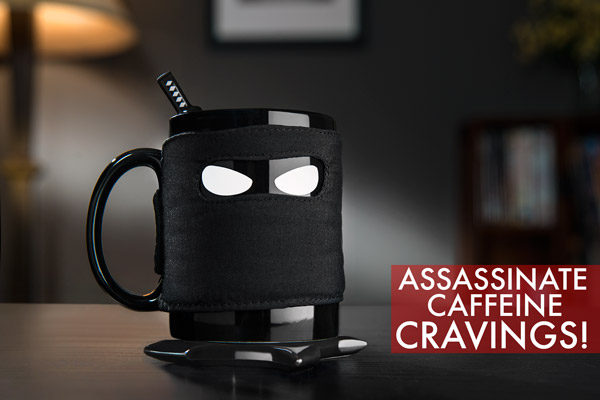 Ninja Mug with Samurai Spoon and Shuriken Coaster