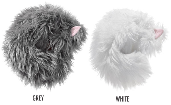 Not-a-Cat Cat comes in two different fur colors: grey or white.