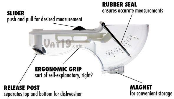 Features of the Nuscup Adjustable Measuring Cup and Scoop