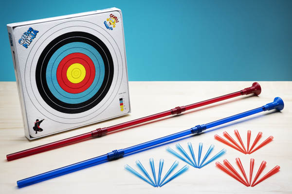 Includes 2 blowguns, styrofoam target, suction cup, and 24 darts (replacement darts available).