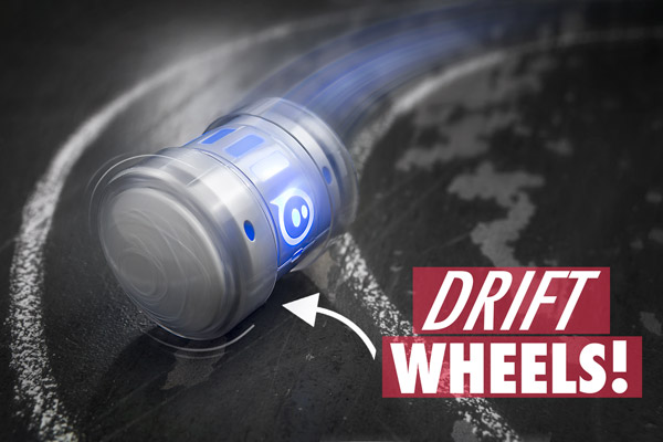 Remove Ollie's grip tires and use the drift wheels to slide around slicker surfaces.