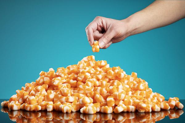 Each bulk bag includes 5 pounds of delicious orange cream gummy bears!