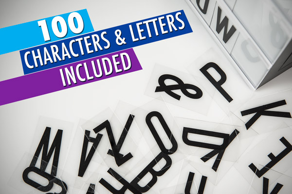 100 letters & numbers included