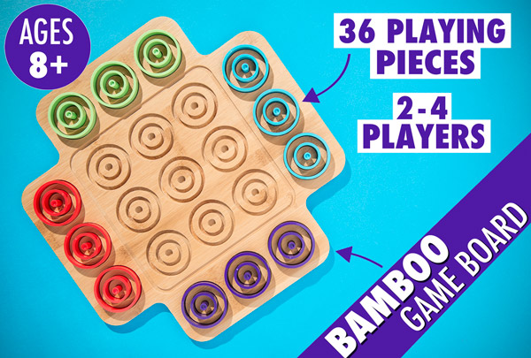 Otrio's bamboo game board and 36 playing pieces are suitable for 2-4 players aged 8 and up.