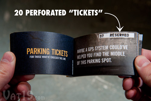 Each set of Parking Tickets includes twenty zingers.