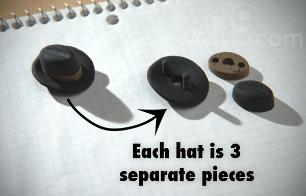Each Pencil Eraser Hat is made from three separate pieces.