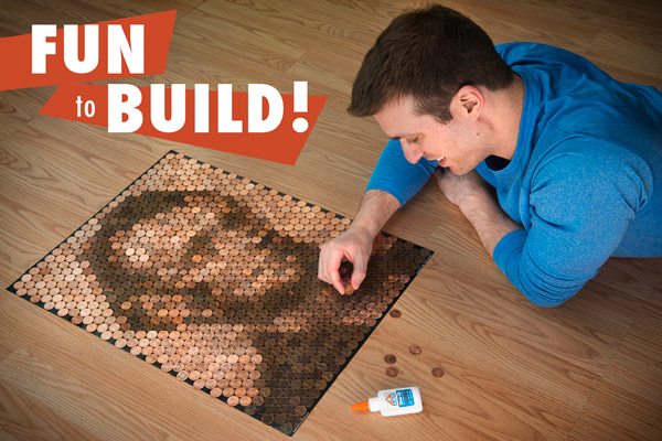 Man working on building his Penny Portrait on his living room floor.