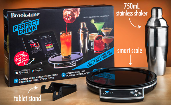 The Perfect Drink by Brookstone comes with a tablet stand, smart scale, two drink pouring spouts, and a cocktail shaker.