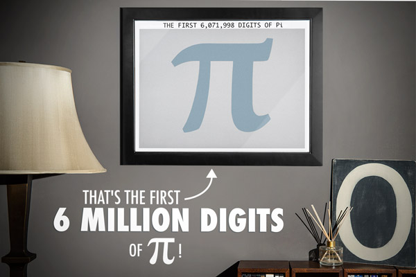 A Six Million Digits of Pi poster hangs in a living room.